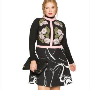Eloquii Multicolor Printed Applique Cocktail Dress